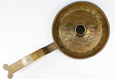 Early Brass Chamberstick Stamp Punchwork Pattern Frying Pan Design Candle Holder
