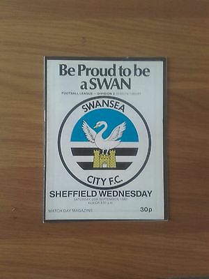 Swansea City V Sheffield Wednesday 27Th September 1980 Division 2 Swans Promoted