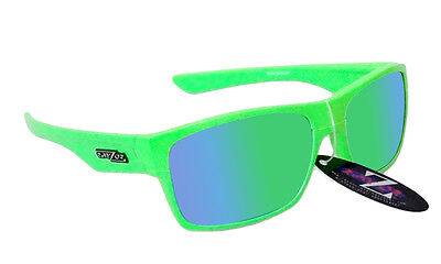 RayZor Uv400 424 Neon Green Framed Green Mirrored Lens Cricket Sunglasses RRP£49