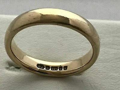 9ct Gold Band Ring, UK Size: L 1/2