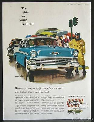 1956 Blue Green Chevrolet Chevy Traffic Rainy Day City Melbourne Brindle Art Ad