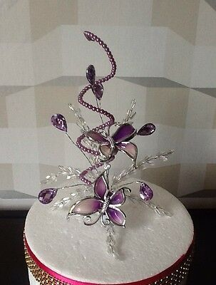 Stunning Wedding/cake Decoration Purple/lilac Butterfly/crystal  Cake Topper