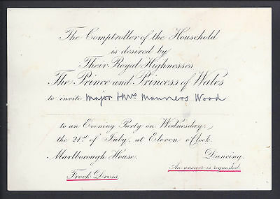 Prince Edward & Princess Alexandra Invitation to Major Manners Wood to a Party