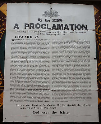 Large Official Cornation Proclamation of King Edward VII & Queen Alexandra 1901