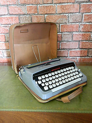 Vintage Brother Portable Typewriter with Leather Case 1960's Retro