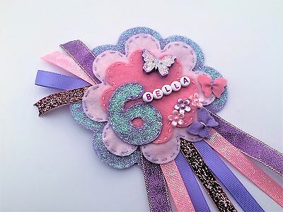 Birthday Rosette, Glittery and Personalised Keepsake