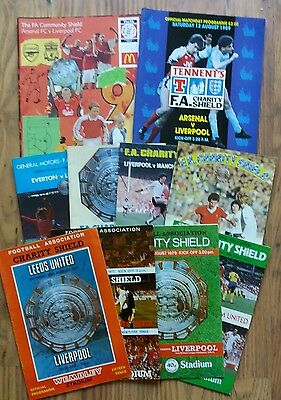 10 x Liverpool Charity Shield Programmes (1974-2002)