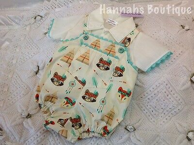 Hannahs Boutique 3-6Mth Baby Tipi Bear Print Spanish Traditional Dugarees Reborn