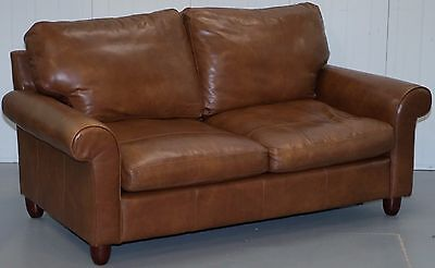 Rrp £2750 Laura Ashley Abingdon Two Seater Sofa Bed Harvest Brown Leather