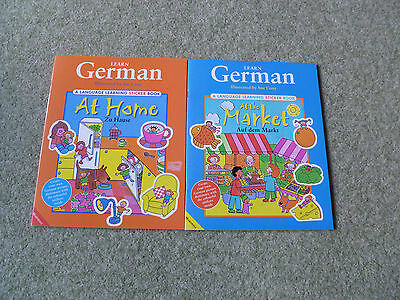 2 BN Learn German Language Learning Sticker Books : At Home and At the Market