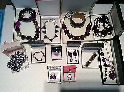 Job Lot Mixed Purple Coloured Costume Jewellery  Necklaces Bracelets