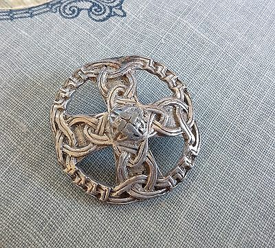 Vintage Miracle Scottish Brooch  Celtic Knot Silver-Tone Metal Signed