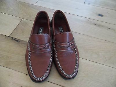 Mens Bally brown leather quality casual loafers size 7.5E