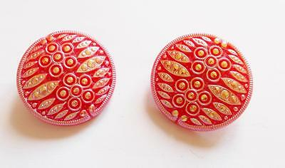 Vintage Art Deco Big Shimmer Red Pink Czech Glass Bead Clip On Earrings
