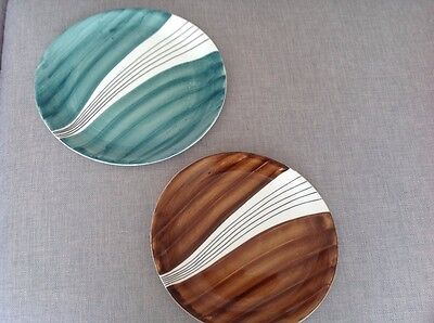 Retro Bristol Pottery plates / platters in green and brown .