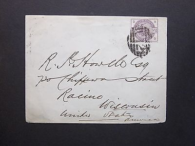 GB Montgomeryshire 1886 QV 21/2d Envelope C12 Numeral & LLANBRYNMAIR s/c to USA