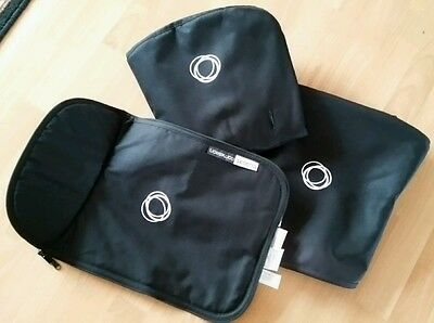 Bugaboo cameleon 1, 2 and 3 black fabric set. Hood, apron and seat cover