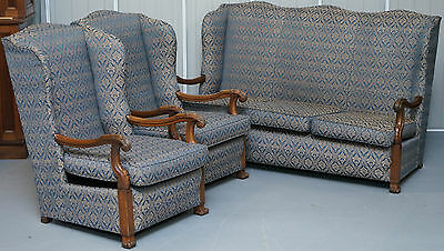 Restored Victorian Wingback Armchair Suite Pair Of Armchairs & Three Seater Sofa