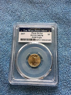 2017 $5 1/10 oz. Gold American Eagle PCGS-MS70 First Strike West Point Mint