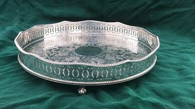 Very Nice Vintage  SILVER PLATED GALLERY TRAY 3 Ball & Claw Feet