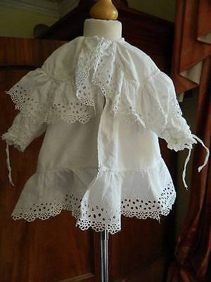 Antique Victorian white cotton baby or doll's Christening coat Layers Swiss lace