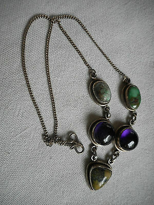 Vintage Green Turquoise, deep purple Amethyst, Jasper sterling silver necklace