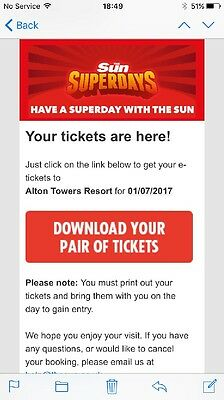 Alton Towers Tickets X2 For Saturday 1st July