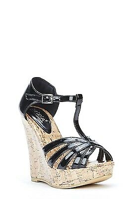 Womens Ladies Black High Wedge Heel Strappy Summer Shoes Sandals Size UK 8 New