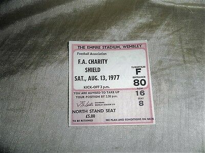 1977 Charity Shield Ticket Liverpool V Manchester United
