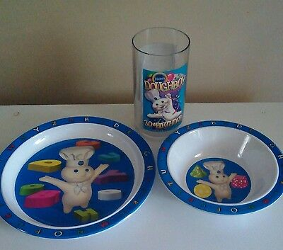 1995 Pillsbury Doughboy 30th Birthday Glass and 2000 Doughboy Plate and Bowl Set