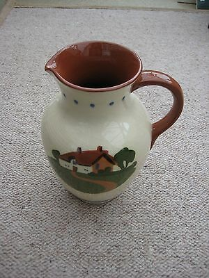 Dartmouth pottery Devon / Torquay motto ware large jug - 7 inches tall