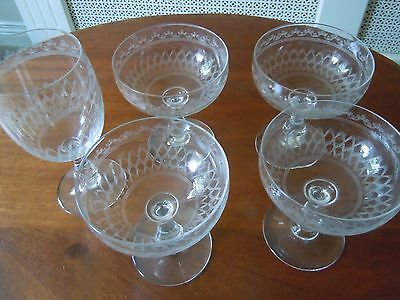Delightful Edwardian Etched  Champagne  Saucers & Wine Glass