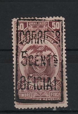 Ecuador 1899 Official Lilac 5 Cents On 50 Cents Double Surcharge In Black S# O92
