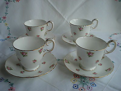 Pretty Crown Staffordshire Vintage Coffee Cups and Saucers x 4 - Pink Roses.