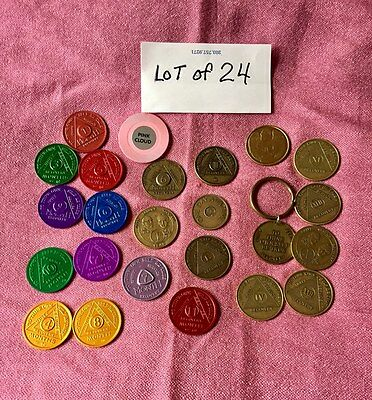 Lot of 24 Alcoholics Anonymous Anniversary Medallions & Tokens