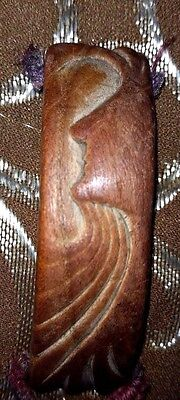 Handcarded Wood  Womans Abstract Face & Hair Bracelet Centerpiece