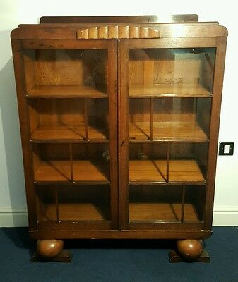 Vintage Antique Glass Display Cabinet Drinks Bookcase Fronted China Ball Feet