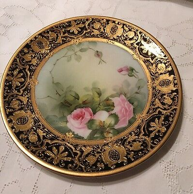 NORITAKE PLATE Decorated WITH ROSES , Heavy Gilding .
