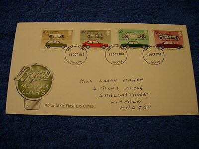 Royal Mail 1st Day Cover - British Motor Cars , with information  card