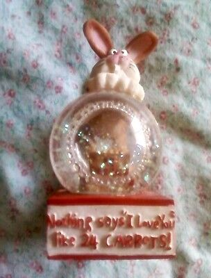 "Bunny Rabbit Snowglobe ""Nothing Says I Love You Like 24 Carrots"" Amusing Figure"