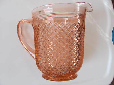 """Anchor Hocking Miss America Pink Depression Glass Pitcher 8"""" tall 81/2"""" wide"""
