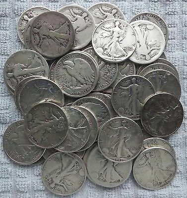 LOT OF 53 HALVES 46 WALKING LIBERTY 7 FRANKLIN TEENS TO 60s