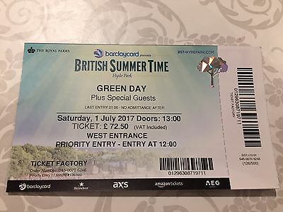 4 x Green Day BST Festival tickets Hyde Park 1st July Priority Entry