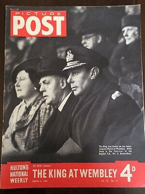 Picture Post Magazine March 4 1944 WW2  Wembley England Scotland King George