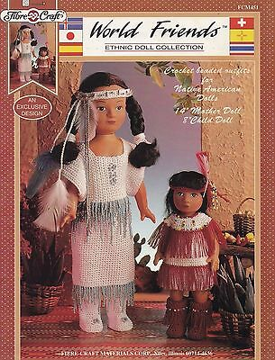Native American Outfits, Ethnic Doll Clothes Crochet Pattern FC FCM451 Mom Child
