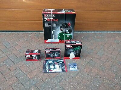 Brand New Parkside 2.45hp Compressor With all accessories All Boxed
