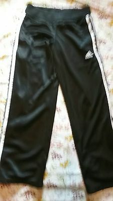 Adidas Boy's Girl's size Medium Black Athletic Pants 100% Polyester Sweat Sport