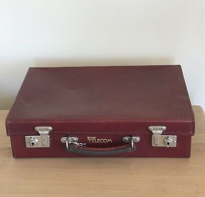 Vintage British Telecom GPO Post Office Telephone Yuppie Leather Briefcase Case