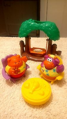 2 Weebles figures, with Treehouse Swing, Playskool Horse and Table and Chairs