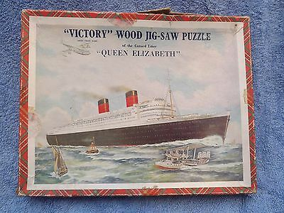 VICTORY Cunard Queen Elizabeth Wooden Jigsaw Picture Puzzle Vintage , complete